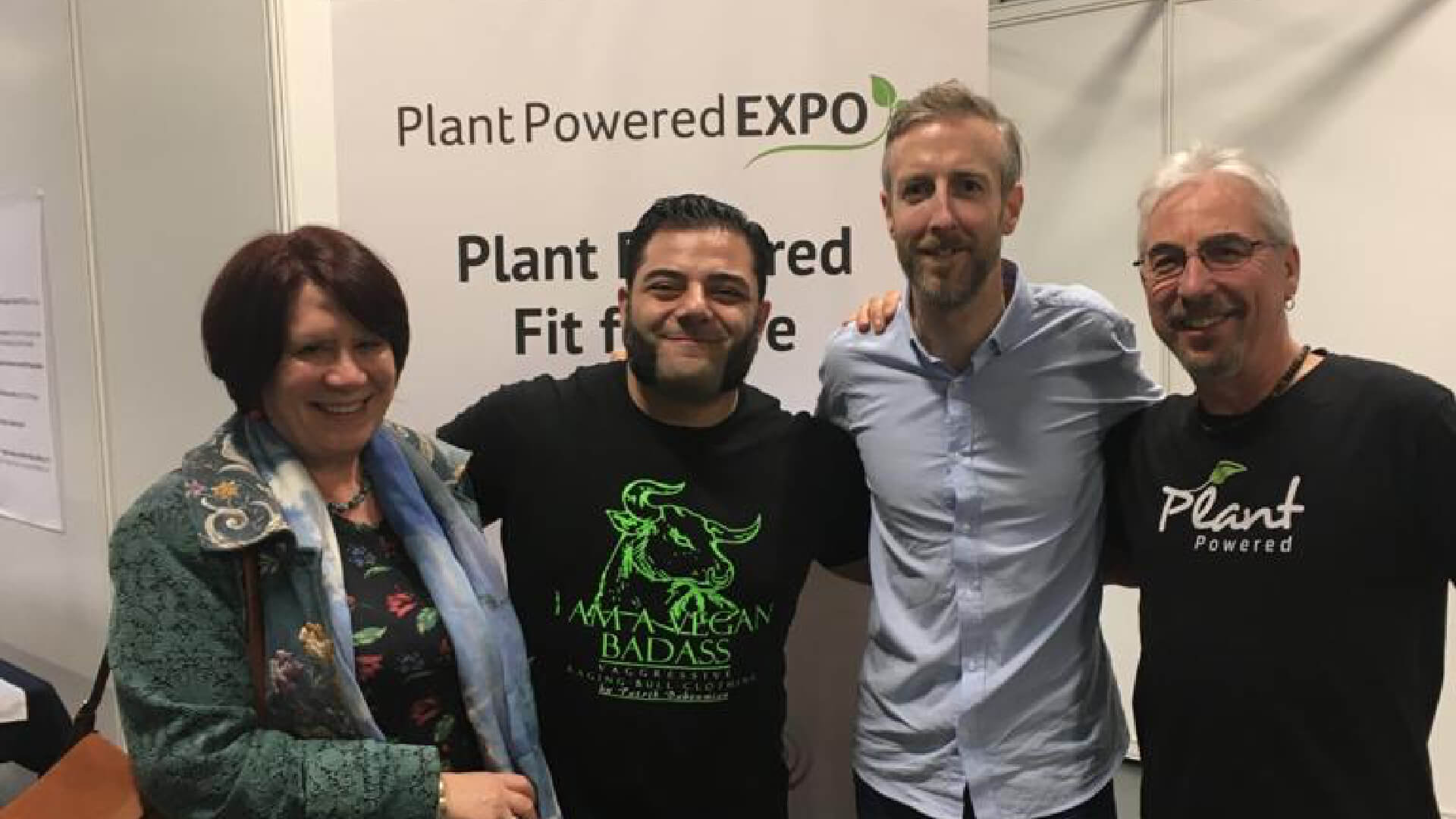"At the Plant based expo in London with one of the ""stars"" of the recent film ""The Game Changers"""