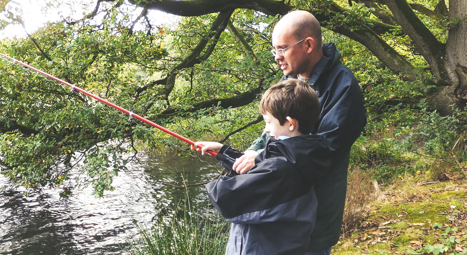Miles and I fishing in Leominster - 2015